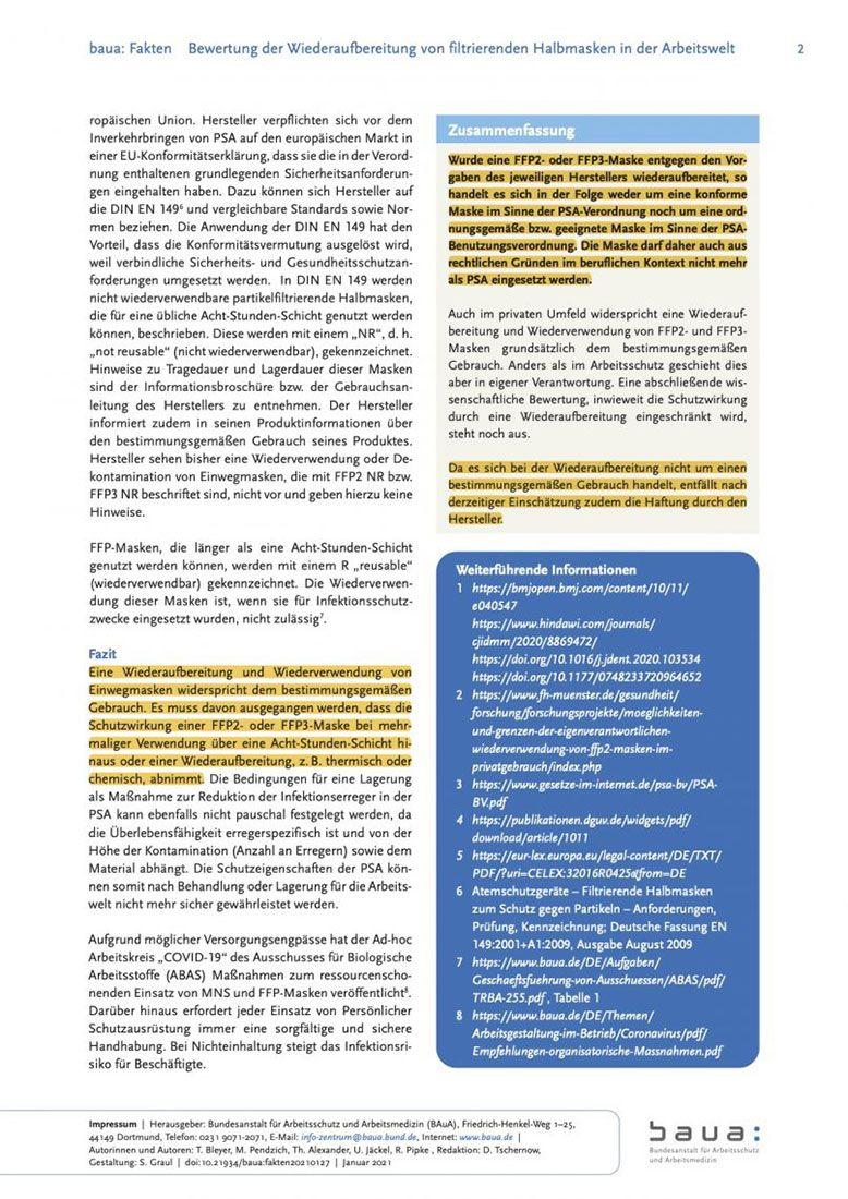 Bewertung der Wiederaufbereitung von filtrierenden Halbmasken in der Arbeitswelt