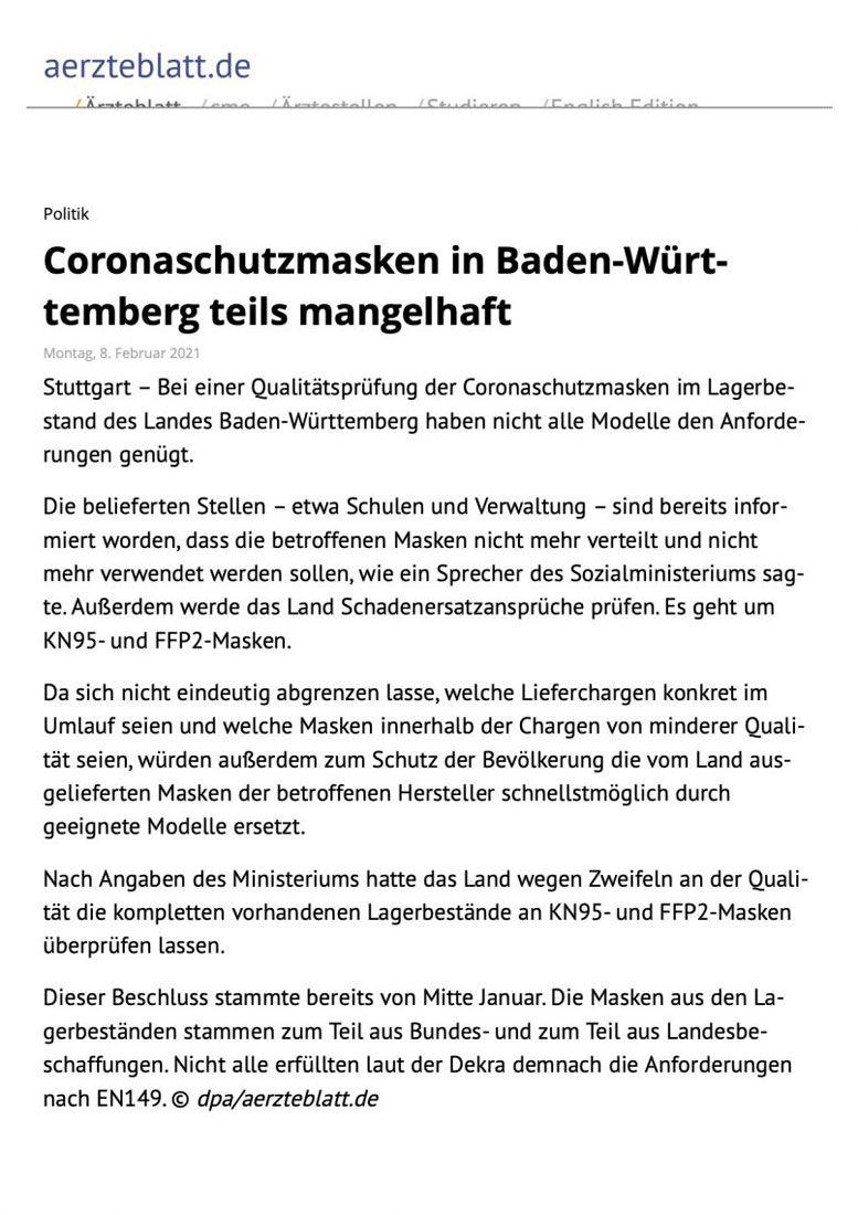 Coronaschutzmasken in Baden-Württemberg teils mangelhaft